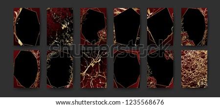 Set of elegant brochure, card, background, cover, wedding invitation. Black and golden marble texture. Geometric frame. Hand sketched botanicals.
