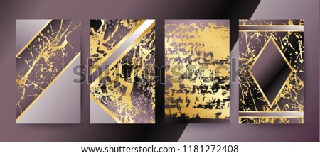 Set of elegant brochure, card, background, cover, wedding invitation. Lilac and golden marble texture. Geometric frame. Abstract gold foil backdrop. #1181272408