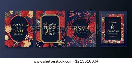Set of elegant brochure, card, background, cover, wedding invitation. Red and golden marble texture. Geometric frame. Hand drawn fllowers. Floral arrangements. Save the date.