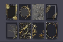 Set of elegant brochure, card, cover. Black and golden marble texture. Vintage  gold background. Geometric frame. Palm exotic leaves. Botanical art.