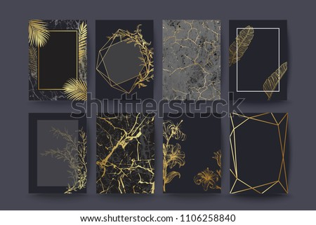 Set of elegant brochure, card, cover. Black and golden marble texture. Vintage  gold background. Geometric frame. Palm exotic leaves. Botanical art.