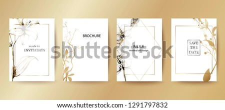 Set of elegant brochure, card, cover. Black and white, golden gradient botanical design. Minimal modern style frame, composition for text. Botanical art. Hand drawn lilies, orchids, leaves.