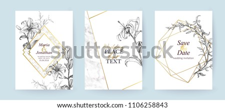 Set of elegant brochure, card, cover. Grey and golden marble texture. Vintage  gold background. Geometric frame.  Botanical art. Hand drawn lilies.