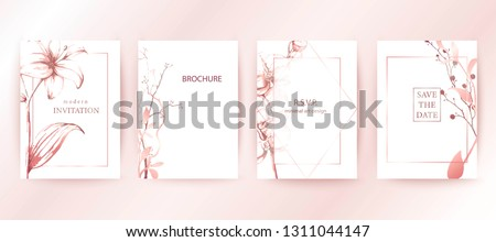 Set of elegant brochure, card, cover. Rose gold gradient botanical design on white background. Minimal modern style frame, composition for text. Botanical art. Hand drawn lilies, orchids, leaves.