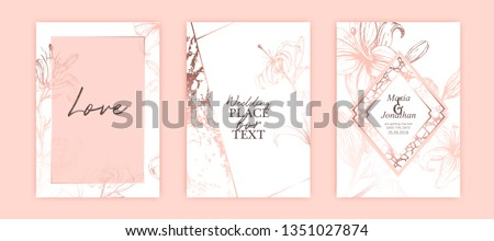 Set of elegant brochure, card, cover. White and rose gold marble texture.   Botanical art. Hand drawn pink lilies. Romantic wedding invitation.