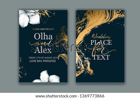 Set of elegant, chic brochure, card, cover. Black, white and gold marble texture. Botanical design for wedding invitation. Hand drawn lilies, plants.