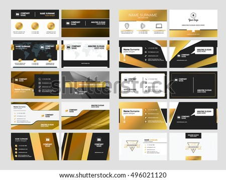 Black golden business card design template vector design illustr set of elegant double sided business card templates with logotype elements black and gold reheart Choice Image