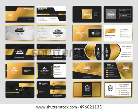 Black And Golden Abstract Business Card Download Free Vector Art
