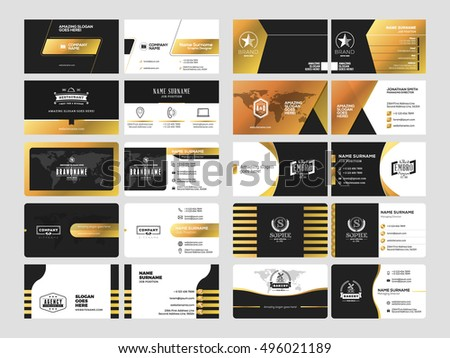 Elegant premium golden business card template download free vector set of elegant double sided business card templates with logotype elements black and gold colourmoves