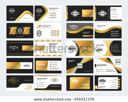 Black and gold abstract corporate business card download free set of elegant double sided business card templates with logotype elements black and gold reheart Choice Image