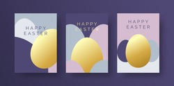Set of Elegant Easter Greeting Cards. Happy Easter Card with Luxury Gold Foil Style Easter Egg and Typography. Easter Card or Invitation Design Template with Geometric Egg Background.