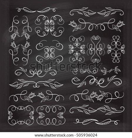 Set of elegant floral elements for your design on the chalkboard.