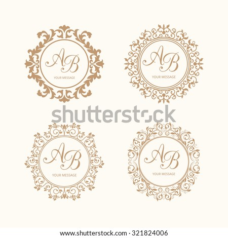set of elegant floral monogram