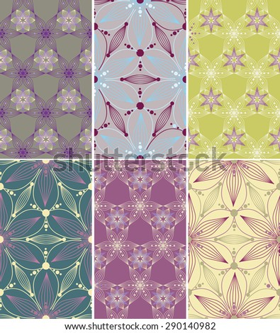 Set of elegant geometric seamless patterns.Can be used for wallpaper, pattern fills, web page background, surface textures, textile #290140982