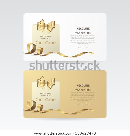 Set of elegant gift cards with golden bow, ribbon and paper shopping bag. Vector template for gift voucher, coupon and credit or discount card. Isolated from the background.