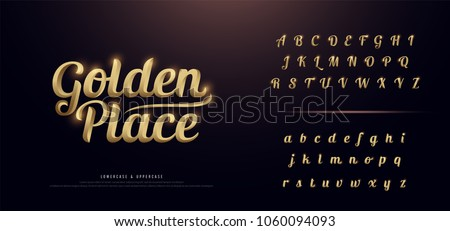 Set of Elegant Gold Colored Metal Chrome alphabet font. Typography classic style golden font set for logo, Poster, Invitation. vector illustration