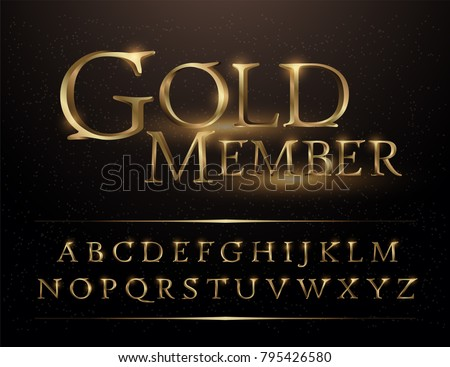 Set of Elegant Gold Colored Metal Chrome alphabet font. Typography classic style golden font set for logo, Poster, Invitation. vector illustrator