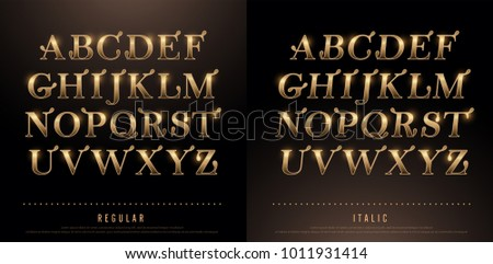 Set of Elegant Gold Colored Metal Chrome alphabet uppercase font. Typography classic style golden font set for logo, Poster, Invitation. vector illustrator