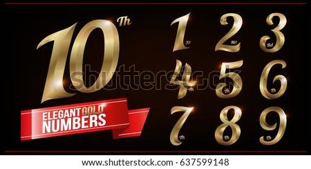 Set of Elegant Gold Colored Metal Chrome numbers. 1, 2, 3, 4, 5, 6, 7, 8, 9, 10, logo design