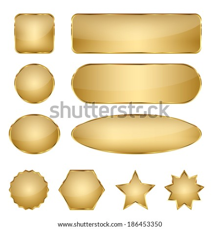 Set of 10 elegant golden blank vector web buttons with different shapes.