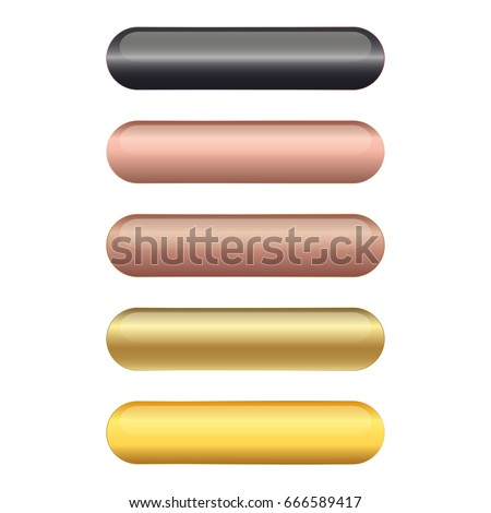 Set of 5 elegant golden blank vector web buttons with different shapes.