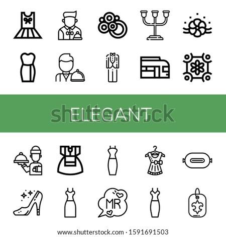 Set of elegant icons. Such as Dress, Waiter, Carpet, Tuxedo, Candle holder, Train, Floral design, High heels, Mr, P t, Fleur de lis , elegant icons Stockfoto ©