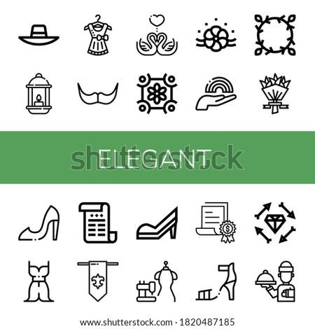 Set of elegant icons. Such as Sunhat, Lantern, Dress, Moustache, Swans, Floral design, Rainbow, Flower bouquet, High heels, Certificate, Fleur de lis, Bride dress , elegant icons Stockfoto ©