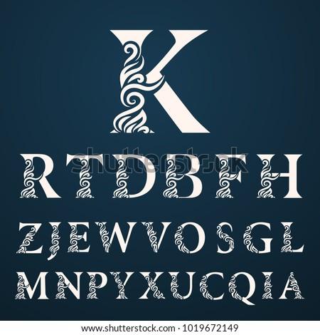 set of elegant letters