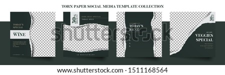 Set of elegant luxury restaurant culinary social media post template, promo, discount, sale, realistic torn paper style