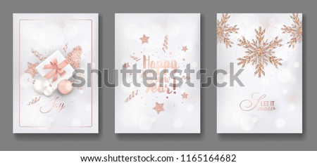 Set of Elegant Merry Christmas and New Year 2019 Cards with Shining Rose Gold Glitter Christmas Balls, Stars, Snowflakes for greetings, invitation, flyer, brochure, cover in vector