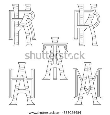 Set of elegant monograms with two letters. KP KR AM AT AH. Monogram logo identity for author, photographer, restaurant, hotel, heraldic, jewelry. Stock fotó ©