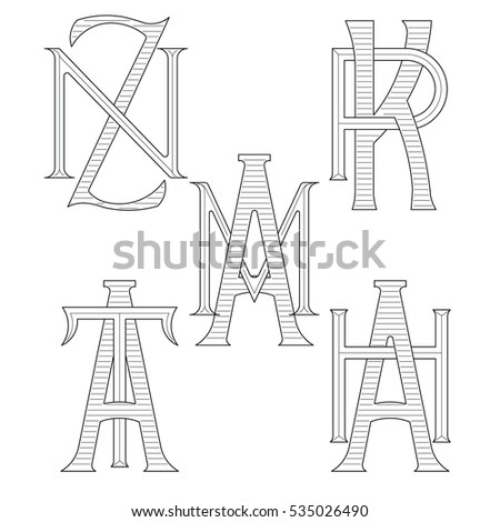 Set of elegant monograms with two letters. ZN KR AM AT AH. Monogram logo identity for author, photographer, restaurant, hotel, heraldic, jewelry. Stock fotó ©
