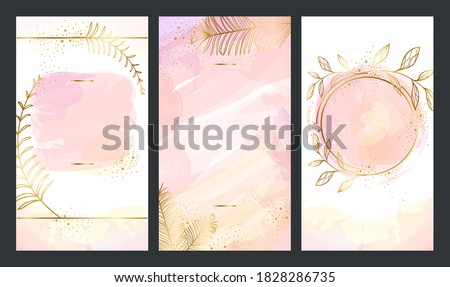 Set of Elegant pink template with gold plants for Stories and streaming. Mockup for personal blog, shop or user story. Layout for promotion, stories and post in social media.