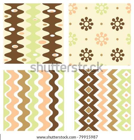 Set of elegant retro seamless patterns