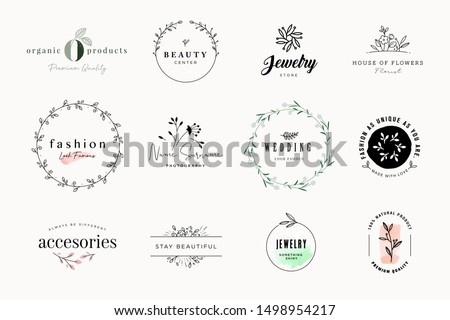 Set of elegant signs and badges for beauty, natural and organic products, cosmetics, spa and wellness, fashion, wedding and jewelry. Vector illustrations for graphic and web design, marketing material