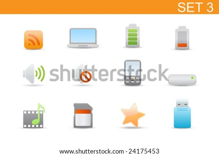 set of elegant simple icons for common computer and media devices functions.Set-3