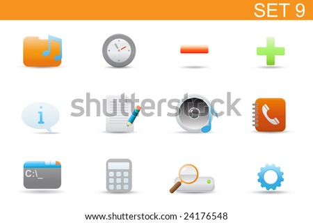 set of elegant simple icons for common computer and media devices functions. Set-9