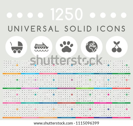 Set of 1250 Elegant Universal Black Minimalistic Solid Icons on Circular Colored Buttons on Grey Background