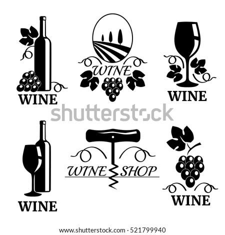 set of elegant wine logo