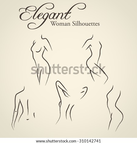 Shutterstock Set of elegant woman silhouettes in a linear sketch style (intimate hygiene, woman health, skin and body care, diet, fitness etc.)
