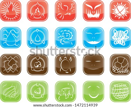Set of Elemental Skill Logo Icon Button in MMORPG Game vector 1