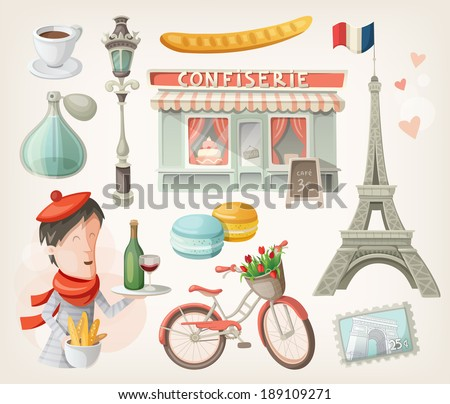 Set of elements, famous buildings and decorations from Paris, France Stockfoto ©