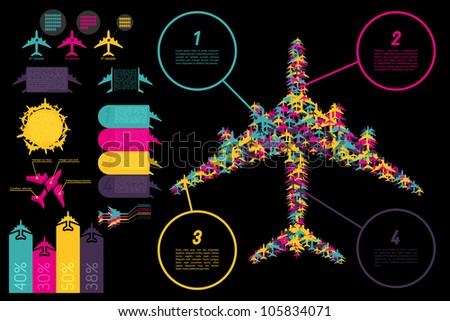 Set of elements for aviation ingographics. Vector illustration.