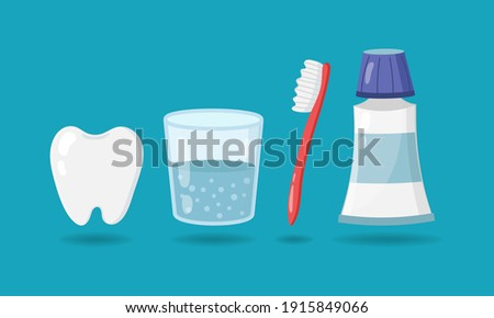 Set of elements for healthy teeth. Tooth, glass of water, toothbrush, toothpaste isolated on blue background. Vector illustration Foto stock ©