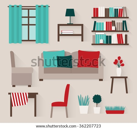 set of elements for living room