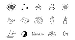Set of elements for meditation and yoga. Black and white hand drawn doodle icon. Vector isolated symbol illustration