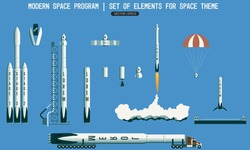 Set of elements for space subject. modern space program. rocket, launch vehicle, satellite, launch pad, payload. Flight stages in space. Landing of a rocket on the platform in the ocean.