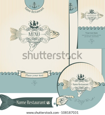 set of elements for the design of the fish restaurants