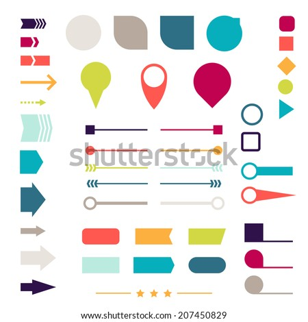 Set of elements, markers, arrows and dividers for design.