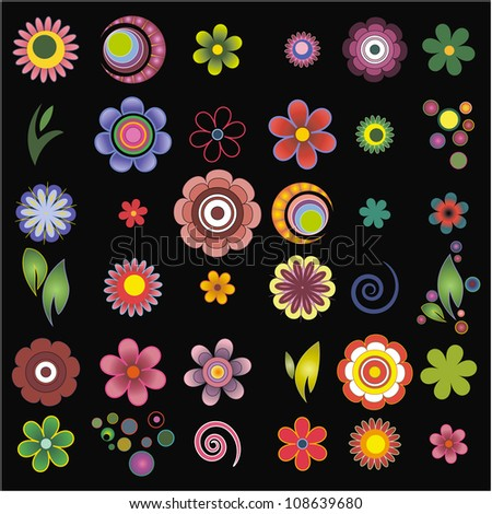 set of elements of design (flowers)